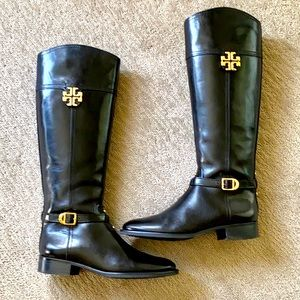 Tory Burch Eloise Black Leather Tall Riding Boots
